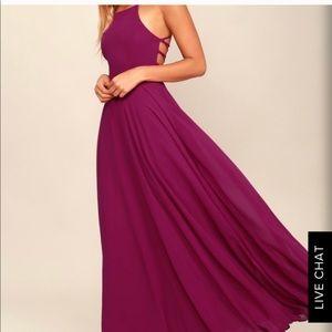 LULU'S Magenta Lace Up Dress 💐